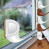 proheim Fenster-Dichtung 24 Meter selbstklebende Gummi-Dichtung für Fenster/Türen verschiedene Profile aus EPDM-Gummi, Farbe:Weiß, Profil:D-Profil