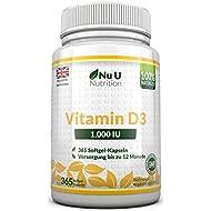 Vitamin D3 1000IU von Nu U, 365 Softgel-Kapseln (Jahresversorgung) – 100% GELD-ZURÜCK-GARANTIE – Vitamin D stärkt die Knochen, Zähne und das Immunsystem – keine künstlichen Zusatzstoffe – Hohe Stärke 1000IU