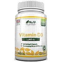 Vitamin D3 1000 IU hochdosiert | für Knochen, Zähne & Immunsystem | Jahresversorgung | 100% Geld-zurück-Garantie | 365 Softgel-Kapseln | Nahrungsergänzungsmittel von Nu U Nutrition