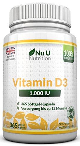 Vitamin D3 1000 IU hochdosiert - für Knochen, Zähne & Immunsystem - Jahresversorgung - 100 % Geld-zurück-Garantie - 365 Softgel-Kapseln - Nahrungsergänzungsmittel von Nu U Nutrition - 52 Tabletten
