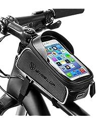 BAONUOR Borsa Telaio Bici, Borsa da Manubrio per Biciclette Impermeabile, Borse Biciclette Supporto Bici MTB BMX per 6 inch Telefono iPhone 7 Plus / 6s Plus / 6 Plus/Samsung S7 Edge Altro Fino