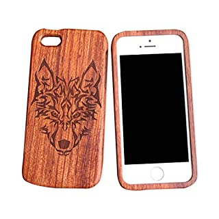 iPhone 5C 5s Wooden Phone Case iphone 5se Carved Wooden Case iphone 4s All Solid Wood case (iphone5/5s, Wolf Totem)