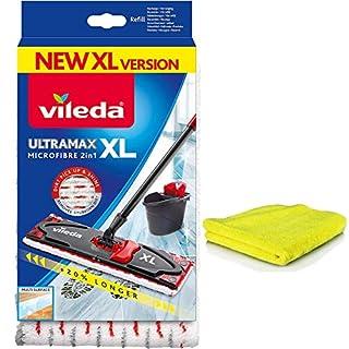 Siluk & Vileda Ultramax Microfibre Ersatzbezug XL I Wischbezug passt zu Ultramat für Holzböden, Parkett und Laminat I Vileda Bodenwischer Bezug Microfaser I Laminatbodenwischer 1 Stück