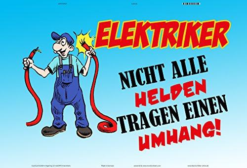 ComCard Elektriker Nicht alle Helden Tragen einen umhang Schild aus Blech, Metal Sign, tin lustig Comic spruchschild