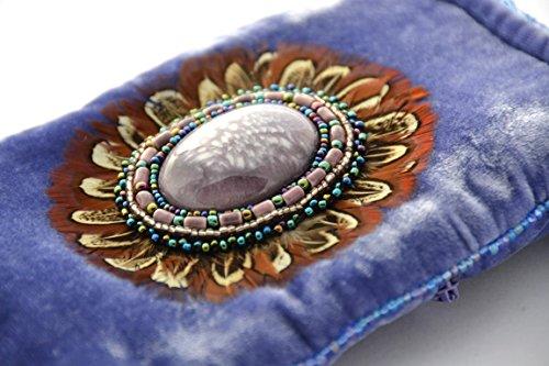 Sac en velours de soie pour téléphone iPhone ou lunettes motif plumes - billes de verre et porcelaine Lilas