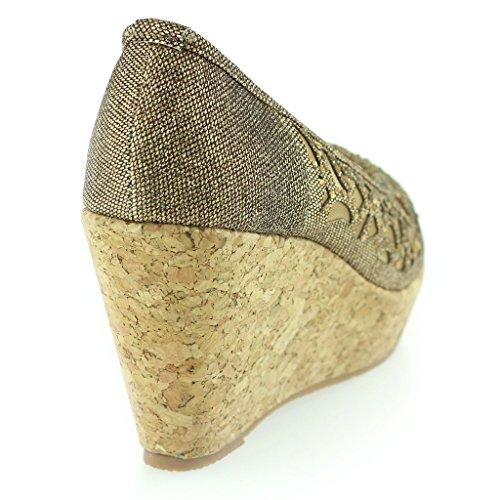 Frau Damen Abend Party Peeptoe Diamante Keilabsatz Sandale Schuhe Größe Braun