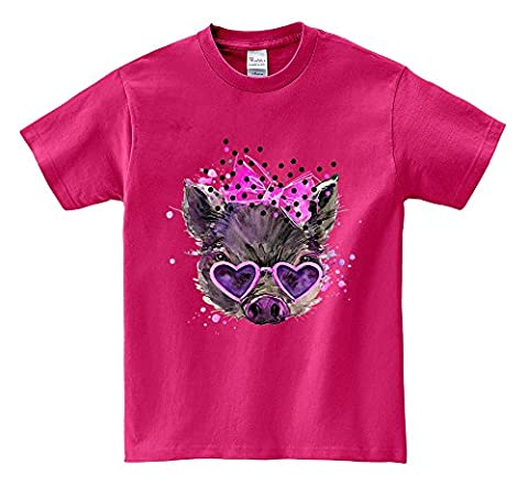 T-shirt à manches courtes - Cute Baby Pig with Pink Ribbon and Sunglass Hot Pink XX-Large