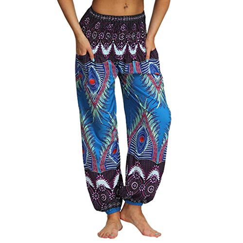 WOZOW Harem Hosen Freizeithose Damen Ethnic Peacock Feather Pattern Print Bloomers Casual Lose Lang Long Indian High Waist Yoga Crop Trousers Stoffhose (One,Lila & blau) -