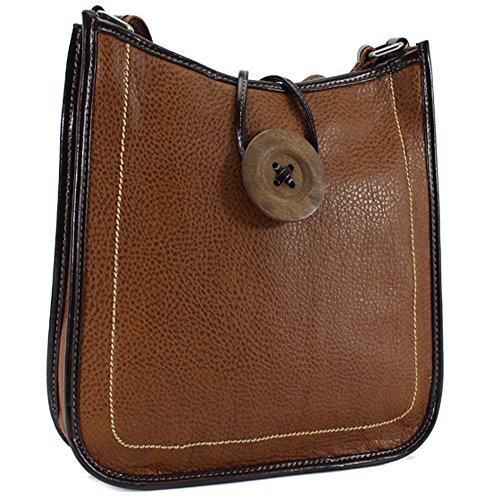 Ydezire® tracolla da donna in finta pelle con bottone, borsa da donna a tracolla (marrone)