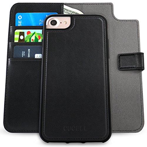 Wallet-fällen 6 Iphone (Cucell iPhone 6 / 6s Fall PU-lederner Mappen-Kasten-Standplatz-Abdeckung, hybrider ultra-dünner weicher TPU Silikon-Kasten mit Kreditkarte-Halter Kickstand magnetischer Verschluss (Schwarz))