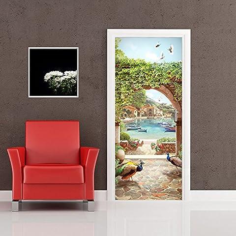 PT0206 Wall Art Decorazione adesiva per porte arredo casa - Porta arco sul mare - (Archi Wall Art)