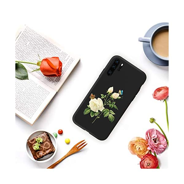 Oihxse Compatible with Huawei P20 Case with Fashion Design, Soft TPU Ultra Thin Black Matte Finish [Anti-Fingerprint] Drop Protection Back Cover Shell Skin for Huawei P20-White Rose Oihxse 🦜【Ultra-Thin & Slim Fit】Ultra-Slim design snugly fit for your Huawei P20 to bring [Sleek Look], [Stylish Charming] and [Great in-hand Feeling] due to the process with matte finish compliment with fashion pattern on the mobile phone case back-black colour. 🦜【Support Wireless Charge】With precision cutouts of the Huawei P20, you can easy access to headphone jack, charger port, key mute, speakers, audio ports and buttons without the interference of [WiFi Reception], [Signal Reception], [Wireless Charging Performance], etc. 🦜【Anti-Fingerprint & Non-Fade Material】Crafted with soft anti-yellowing and non-fade TPU material with red frosted finish to provide you fingerprint resistant, anti-slip, daily scratches, bumps, drops and other daily damages. 6