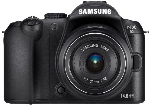 Samsung NX10 Systemkamera (14,6 Megapixel, Bildstabilisation) Kit inkl. 18-55 mm Objektiv, schwarz (Kamera Samsung Nx)