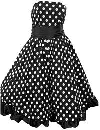 Un robe bustier fantastique rétro-noir à pois blancs. Dans les tailles 36-46