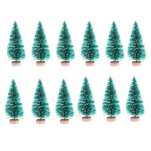 NUOBESTY Mini Alberi di Natale Ornamenti di Alberi di sisal Artificiali con basi Legno per Decorazioni Natalizie per Feste di Natale 4 5 24 pz