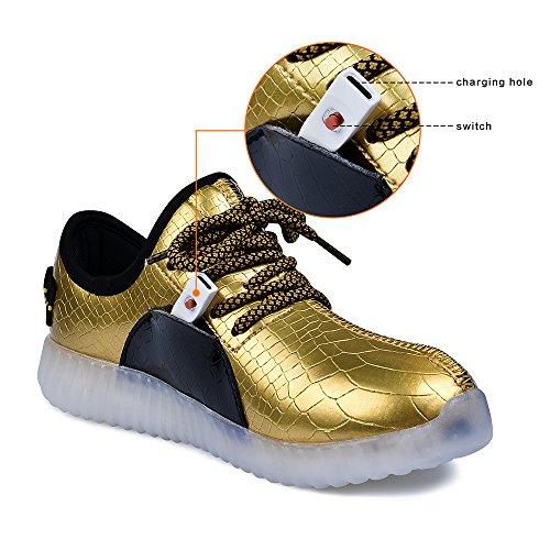 QANSI 7 Colore Shoes LED Di Unisex Del Bambino Di Carica USB Scarpe Leggere Luminosi Indicatori Sport Sneakers Per Ragazzi E Ragazze NeroOro