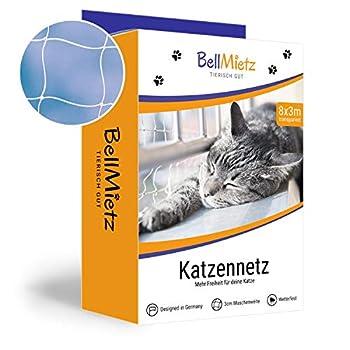 BellMietz Chat Adaptateur pour Balcon et Fenêtre | Maxi 8x 3m Filet de Protection pour Chat, avec 25m de Corde de Fixation | Balcon Adaptateur avec Livre électronique Gratuit Inclus