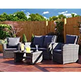Mixed Grey Rattan Weave Sofa Set Garden Conservatory Furniture Light/Dark Cushions INCLUDES OUTDOOR PROTECTIVE COVER (Dark Mixed Grey with Dark