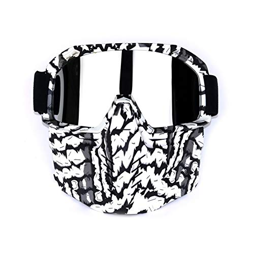 Adisaer Sportbrille Transparent Retro Cross Country Brille Skibrille Schutzbrillen Motorradbrillen Winddichter Spiegel Zebra Silver Damen Herren
