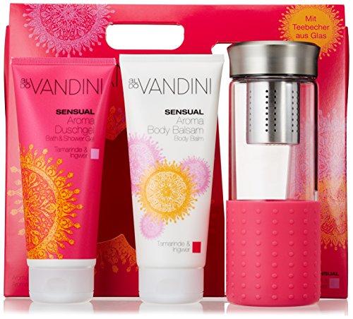 aldoVANDINI SENSUAL Geschenkset mit Duschgel, Body Balsam und Glasflasche mit Teesieb, für Frauen, vegan - 1 er Pack (1 x 1 Set)