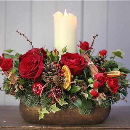 Margaret Emms Christmas Long and Low Table Centre - Red - Margaret Emms Fresh Flowers Delivered