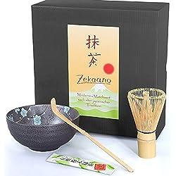 Matcha-Set 3-teilig, 250ml anthrazit/blau, gesprenkelt/Matcha Schale/Matcha Bambuslöffel/Matcha Bambusbesen, in Geschenkbox, Original Aricola®