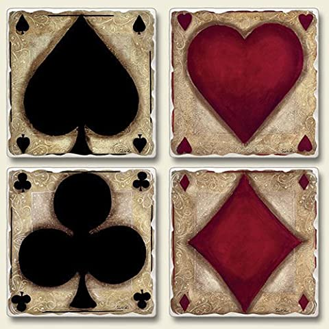 Ante Up playing cards Square Coaster assorted Set of 4 -heart,spade,club,diamond by AbsorbaStone