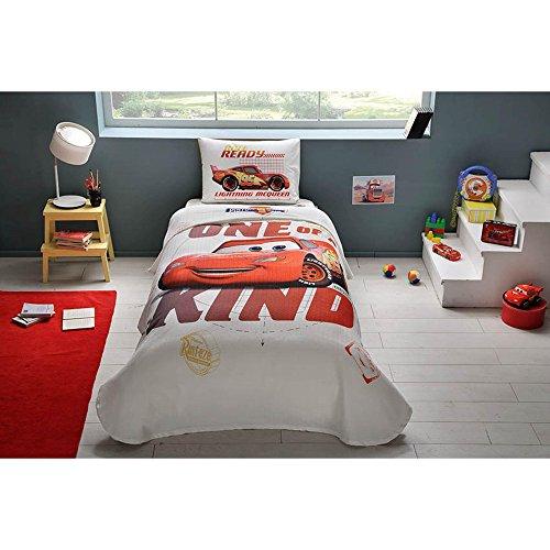 3-teilig Disney Cars Piston Cup Lizenzprodukt Cartoons Tagesdecke Decke (Pique) Set, 100% reine Baumwolle Luxus, Kinder Einzelbett Teenager Größe