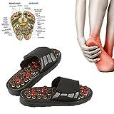 Massage-Hausschuhe mit 41 Akupressur-Punkten, 180 ° drehbar Magnetotherapie Tai Chi Massage Schuhe zur Verringerung der Fußschmerzen für Männer und Frauen(Schwarz/42-43)