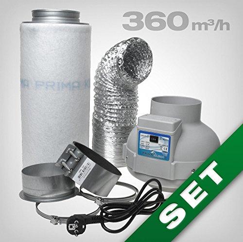 Prima Klima Ventilateur extracteur 5'' Ø 230/360 m3/h Kit complet de contrôle des odeurs avec filtre à charbon Idéal pour les tentes / chambres de culture