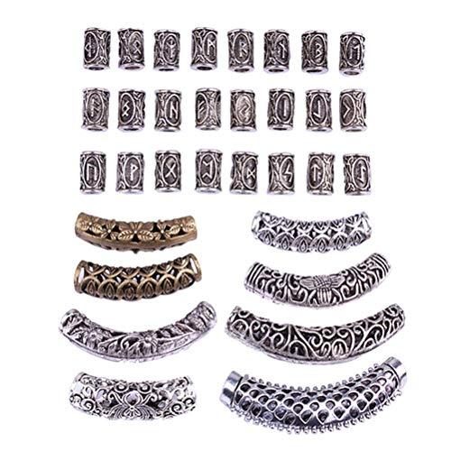 Lurrose 31pcs Vintage Hair Tube Beads Metal Dreadlocks Cabello puños trenzas de la joyería de accesorios de pelo