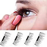Hot Sale 3D Magnetic False Eyelashes ! Voberry 4 Pieces Pack Ultra-thin 7mm Length Black Magnetic Eye Lashes 3D Reusable False Magnet Eyelashes Extension Makeup Beauty Tool (Style 1)