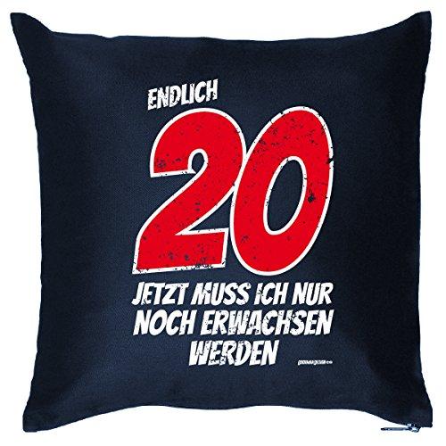 Zum 20. Geburtstag - Endlich 20, jetzt muß ich nur noch erwachsen werden - Kissen mit Füllung, originelles Geschenk