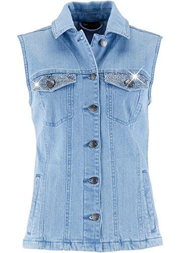 Jeansweste mit Ziersteinen, Shirtweste, Sweatshirtweste, Weste, Damenweste (46)