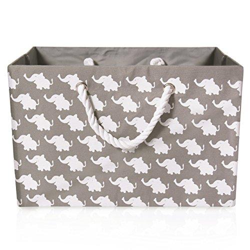 Cesta de almacenamiento plegable de lona gris - Cesta de tela rectangular...