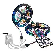 10M Tiras LED, EONSMN 3528 Impermeable 600 LED SMD Flexible Color Cambia Lámpara Cuerda Luces con 44 Key IR Alejado Regulador (2 x 5M)