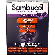 Sambucol Natural Black Elderberry Immuno Forte with Vitamin C; Zinc; immune system booster; cold and flu remedy - 30 capsules