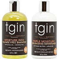 tgin Moisture Rich Champú sin sulfato y tgin Triple Moisture Replenishing acondicionado