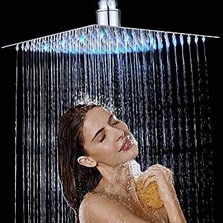 Rozin – Alcachofa de ducha cuadrada de 30 cm, LED, ultrafina, de lujo, montaje en techo, 3 capas, acero inoxidable 304 pulido, sensor de temperatura, 3 colores