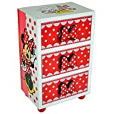 MINNIE MOUSE BEDROOM 3 DRAWER CHEST CABINET STORAGE JEWELLERY BOX KIDS WOODEN UNIT BOX NEW