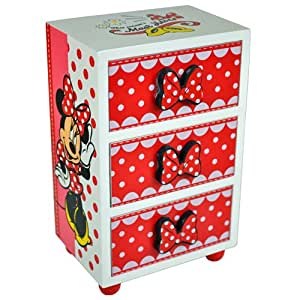 Minnie mouse bedroom 3 drawer chest cabinet storage for Minnie mouse jewelry box