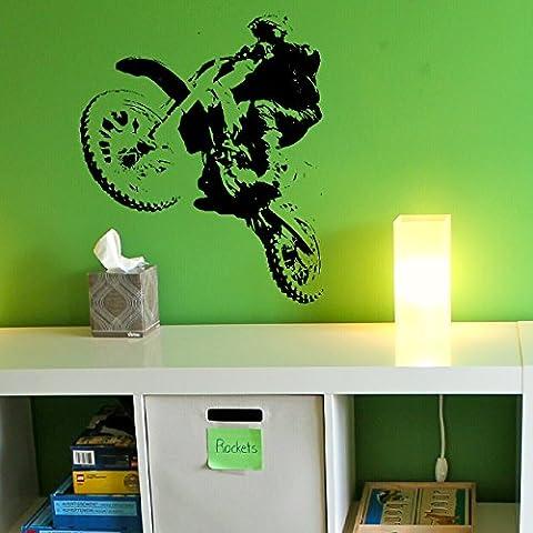 laographics® Scrambler Moto Stickers muraux vélo Cross Motocross garçon, enfant en vinyle Art transferts pour enfant, intérieur en graphique, éjac amovible chambre décor, Idée Cadeau pour Enfant/Ado zzz-bo21, Violet, Large - 64x54cm