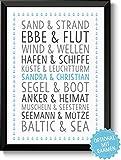 DU & ICH Baltic Sea Bild Valentinstag Geschenk Geschenkidee Geburtstagsgeschenk für Ihn Sie Freund Freundin Paare Pärchen Frau Mann zum Geburtstag Jahrestag Hochzeitstag Hochzeit Rahmen optional
