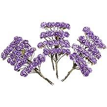 144pcs Mini Flores de Papel Rosas de Color Púrpura