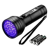 LE Lighting EVER Lampe Torche UV, 51 LED 395nm, 3 piles AA incluses, pour Détecter Taches Colle Vernis