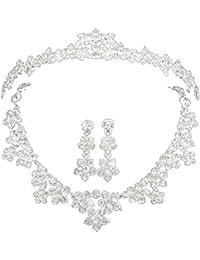 CaliaDress 3PCS Noble Serie de Joya Cristal de Collar Pendiente y Corona Imperial para Novia C002SS