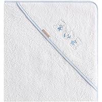 Burrito Blanco Capa de Baño para Bebé/Toalla de Baño 201 para Bebé con Capucha de Rizo Blanco con Bordado de Ositos Luna y Estrellas, Azul