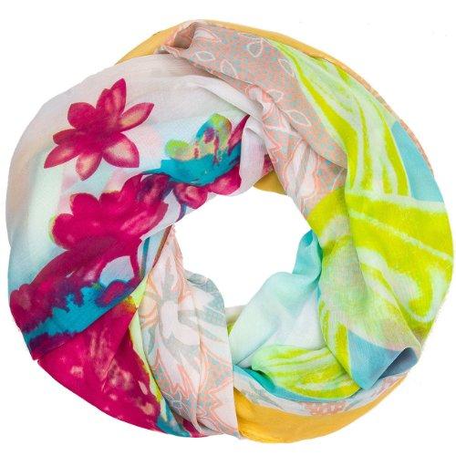 CASPAR Echarpe tube pour femme/Foulard avec motifs fleuris colorés - plusieurs coloris - SC385