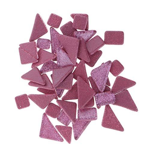 P Prettyia 7 Couleurs Mosaïques de Verre Irrégulières pour Décor de Cadres Miroirs Plateaux Plateaux de Table - Rose Rouge