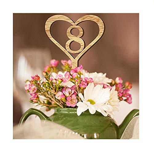 Holz Hochzeit Tisch Karte Blume Sitz Anzahl Karte von 1bis 10Dekoration Digital Topper ()